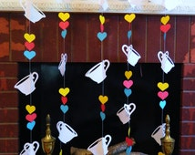 Alice in Wonderland themed Party decor- Tea for TWO Birthday Decorations - Tea Party Garland set- Paper Garland Backdrop- your color choices