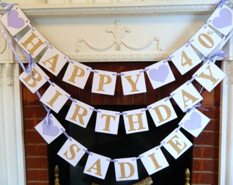 BIRTHDAY Party Decorations  , 1st 40th 60th Birthday decorations , Gold Birthday Garland  , Any Age Birthday banner - you pick the colors
