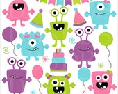 monster aliens clipart clip art birthday party - Girl Monsters Birthday Bash Digital Clip Art