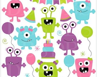 monster aliens clipart clip art birthday party - Girl Monsters Birthday Bash Digital Clip Art