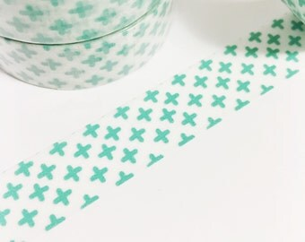 Opaque Washi with Mint Green Plus Sign Washi Tape 11 yards 10 meters 15mm