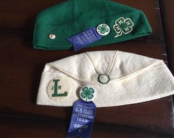 Vintage 4-H Club White Wool Beannie Cap Junior Leader California 1949 29th Annual 4-H Club Convention with Pins
