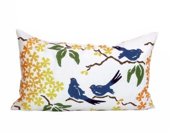 Galbraith & Paul Birds lumbar pillow cover in Lake