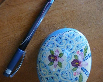 vintage oval paper mache jewellery nick nack box orchid cream periwinkle baby blue container