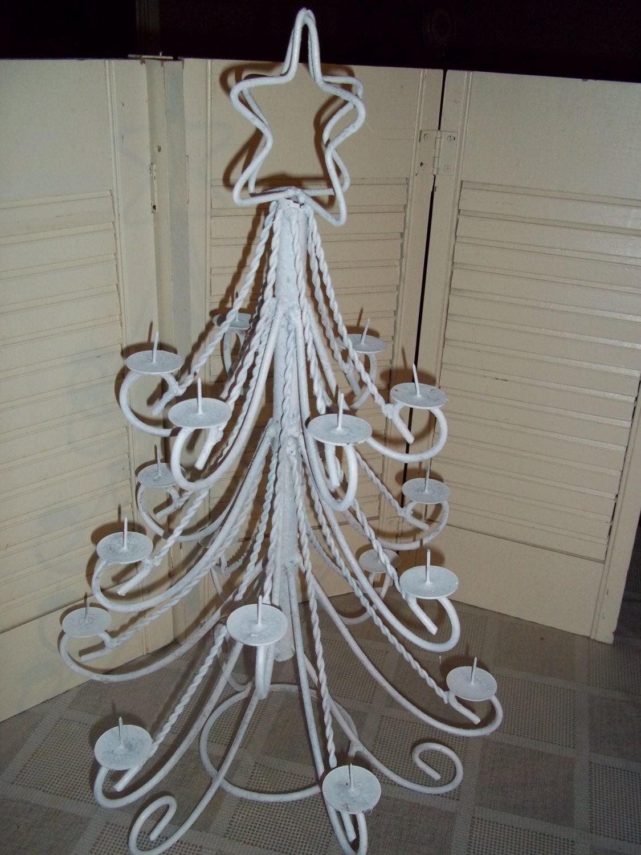 Vintage Tin Christmas Tree Ornaments : Vintage metal christmas tree candelabra or ornament holder