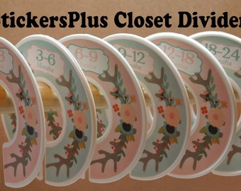 Baby Closet Dividers Organizers Assembled or PreCut DIY Tribal Deer Antlers Floral Coral Mint Girl Nursery Gift Hanger Size Dividers CL035