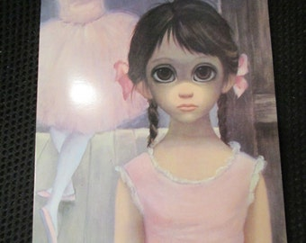 Vintage Walter Margaret Keane The Reluctant Ballerina Big Eye Girl Card 1963 San Francisco Prima Ballerina kitschy Mod Pigtails