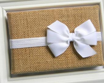 White Bow Headband - Newborn Bow Headband - Baby Bow Headband