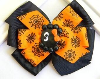Halloween Hair Bow - Halloween Pinwheel Bow - Black Spider Hair Bow