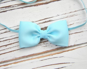 Light Blue Bow Headband - Newborn Bow Headband - Baby Bow Headband