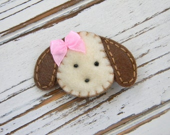 Girls Hair Clip - Sophie the Dog Felt Clippie - Felt Dog Hair Clip - Dog Felt Hair Clip - Dog Hair Clip