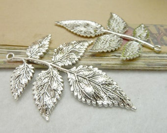 5pcs -55x80mm Ancient silver Maple Leaf leaves Charm Pendant