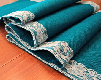 Turquoise Burlap Table Runner with Lace or Choose Another Color 20 Colors Available Boho Wedding Decor Rustic Wedding Table Decorations