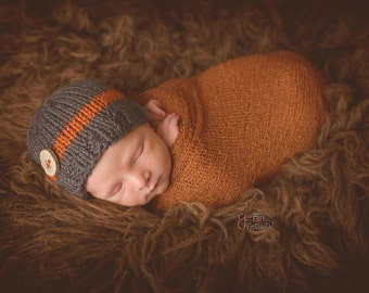 Sweet and Simple Knit Button Beanie, Newborn Photography Prop, Gray and Orange