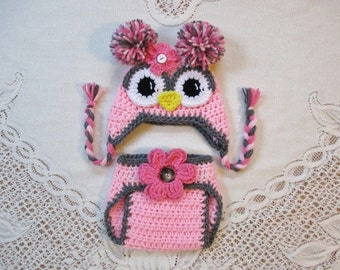 Shades of Pink and Grey Crochet Owl Hat and Diaper Cover Photo Prop Set - Photo Prop - Available in Newborn, 3 to 6, 6 to 12 and 12 to 24