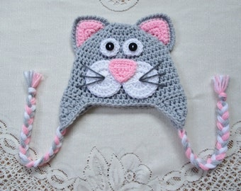 READY TO SHIP - 6 to 12 Month Size - Light Grey and Baby Pink Kitty Cat Crochet Hat - Photo Prop