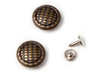 10 sets 20 mm  buttons denim No Sew  jeans tack metal buttons Antique gold button fastener with manual - Diamond
