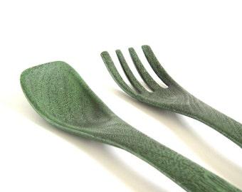 Plastic Salad Serving Utensils 1960s 1970s Avocado Green Wood Grain Kitchen Utensil Set Fork Spoon