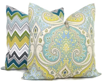 Lime Green and Blue Ikat Decorative Pillow Cover  18x18, 20x20 or 22x22 or Eurosham, Kravet Latika