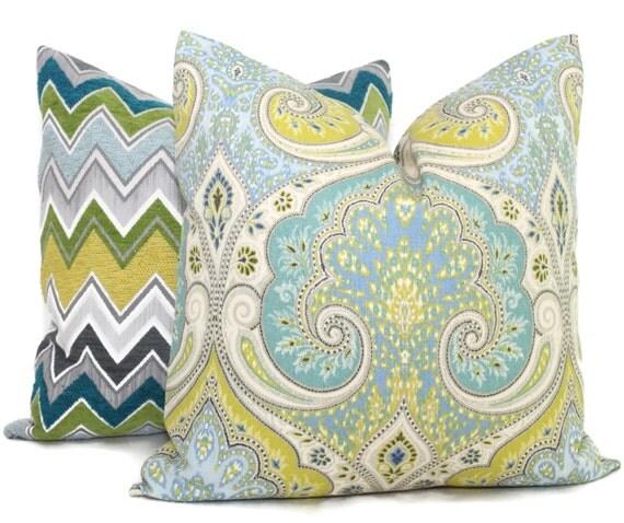 Lime Green and Blue Ikat Decorative Pillow Cover  18x18, 20x20 or 22x22 or Eurosham, Kravet Latika