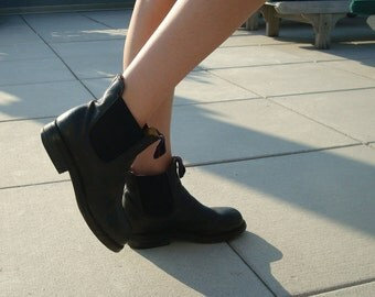 Black leather Chelsea booties