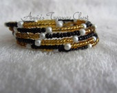 Black and Gold Beaded Memory Wire Coil Bracelet