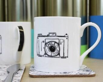 Camera Mug - illustrated mug - photographers gift -tea mug - coffee mug - fine bone china mug -  mug for dad  - father's day gift
