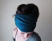 PEACOCK BLUE Head Scarf - Bohemian Hair Wrap - Dark Teal Ear Warmer, Head Warmer - Jersey Hair Accessory - Ecoshag