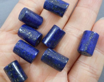 10pcs-10mmX8mm-natural Lapis Lazuli gemstone bracelet/necklace tube beads set, lapis tube beads