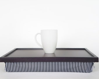 Breakfast Serving Lap Tray or Laptop Lap Desk, stand- dark plum purple tray with black and white striped pillow