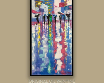 Oil Painting ORIGINAL Painting Cityscape Umbrellas  Romantic Painting  Ready to Hang 12inX24in