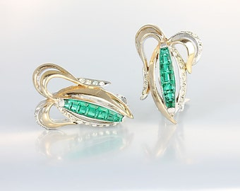 Emerald Earrings, Silver Gold Invisible set French Cut Green rhinestone Earrings, signed Reja