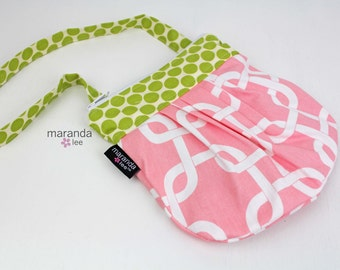 SALE Mini Mama bag -READY to SHIP - Pink Gotcha with Lime Dot - Little Girl Purse Mini Purse Zipper bag-Training Purse