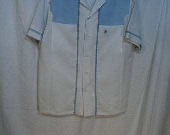 Vintage 1970s Shirt Polyester knit Made in Hawaii IOLANI IO Executive pin tucked front White Blue 70s