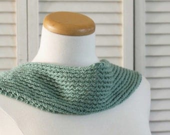 Knit yourself this Scarf - Knit Pattern Scarf Green Cotton DIGITAL PDF PATTERN