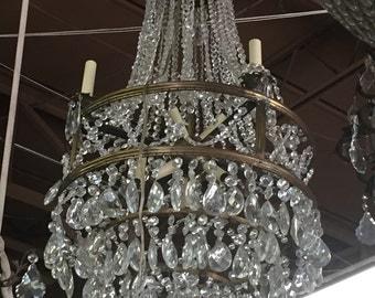 X detail Chandelier. Vintage Chandelier. Drop Crystal Details.