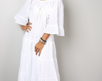 Maxi Dress - White Summer Dress -  Long Sweetie Boho Cotton Gown : Soul of the Orient Collection No.3