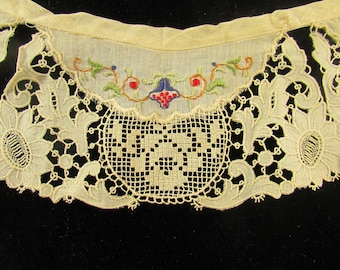 Vintage Decorative Embroidered Lace Collar, Antique Collar, Vintage Lace, Vintage Accessory, Vintage Cotton Collar