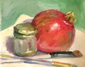 Pomegranate Oil Painting, Still Life Painting, Oil Paintings, Original Art, Original Painting