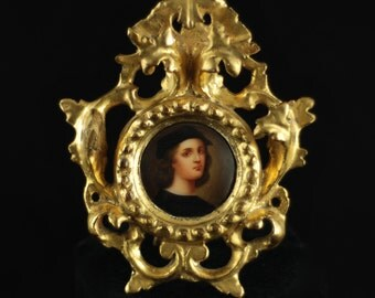 Antique 19th Century Miniature Portrait after Raphael In Carved Giltwood Frame