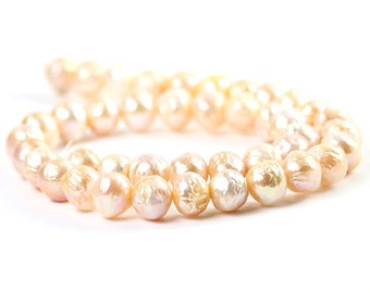 Nucleated Freshwater Pearls 4 Kasumi Like Near Round Peach Freshwater Pearls Semi Precious Pearls June Birthstone