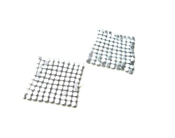 Mesh Square Silver Checkered Set of 2 Jewelry Supply