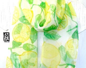 Silk Scarf Handpainted, Gift for her, Birthday Gift, Silk Chiffon Scarf, Lemon Yellow Limoncello Scarf, Silk Scarves Takuyo, 11x59 inches.