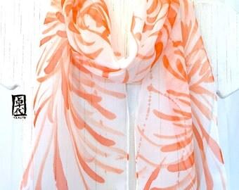 Orange Silk Scarf Handpainted, Orange and White Scarf, Small Silk Scarf, Orange Chrysanthemums Scarf, Silk Chiffon Scarf, 8x54 inches.