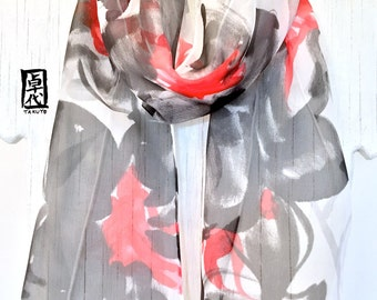 Silk Scarf Handpainted, Gift for her, Anniversary Gift, Black and Red Scarf, Tropical Zen Orchids Scarf, Silk Scarves Takuyo, 8x54 inches.