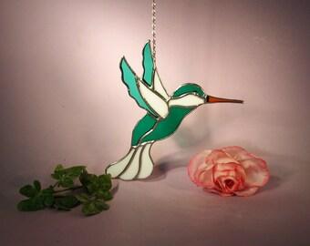 NFL New York Jets Hummingbird Stained Glass Suncatcher  (593)