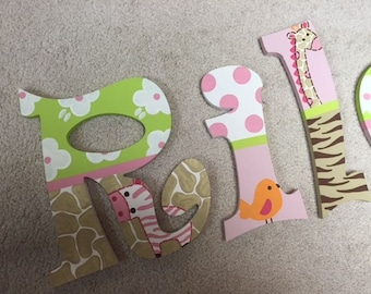 Jungle Jill - hand painted - wooden wall letters - bedroom - nursery - custom