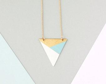 Metal Triangle Necklace (Blue - White - Bronze) - Modern Geometric Jewellery