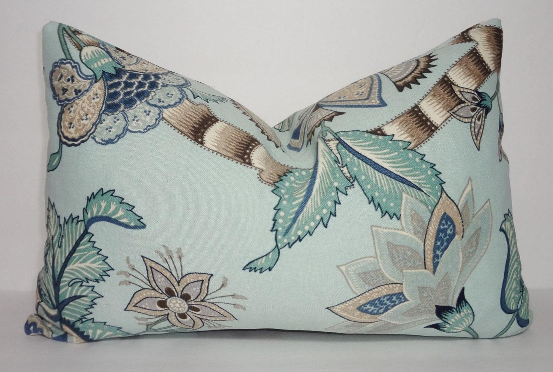OUTDOOR Seafoam Green Brown Floral Pillow Cover Porch