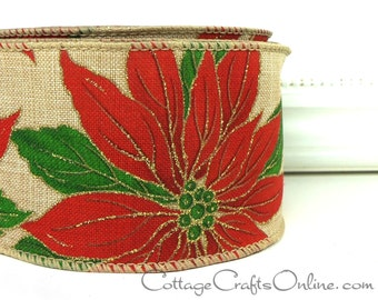 "Christmas Wired Ribbon, 2 1/2"" Poinsettia Linen Look, Gold Glitter - TEN YARD Roll - ""Poinsettia Natural"" Wire Edged Ribbon"